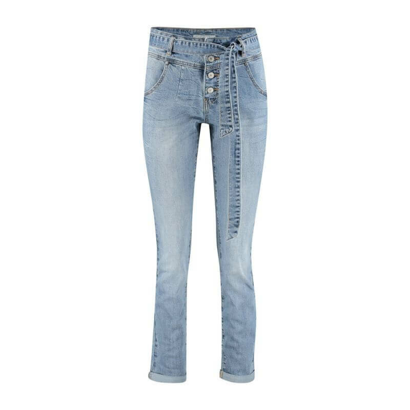 Red button high waist jeans