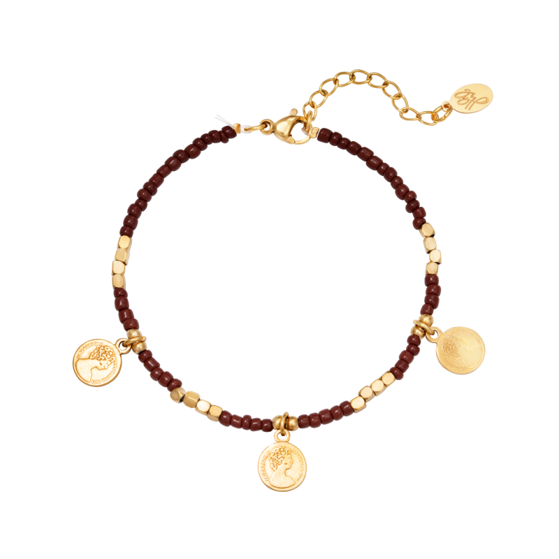 Armband Beads And Coins Red