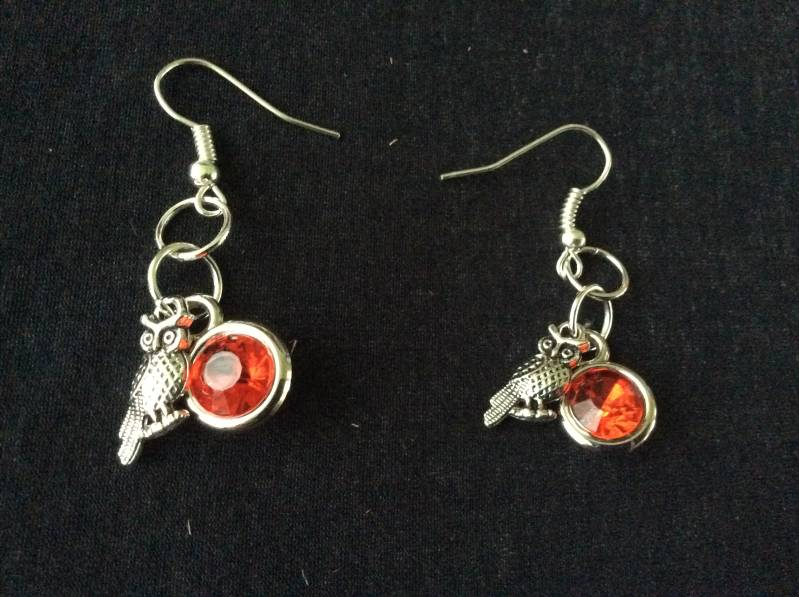 Harry Potter house Gryffindor Owl earrings