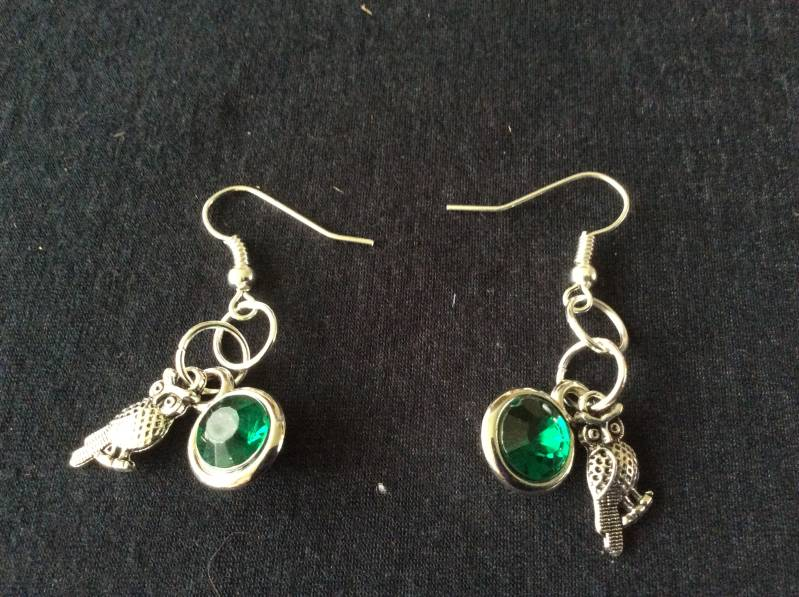 Harry Potter earrings house Slytherin Owl