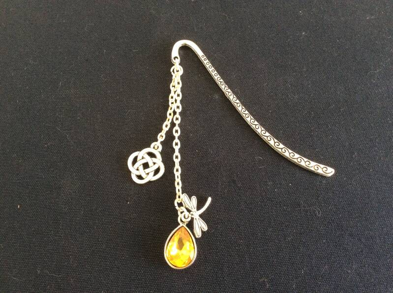 Outlander,Boekenlegger Celtic Dragonfly in Amber bookmark