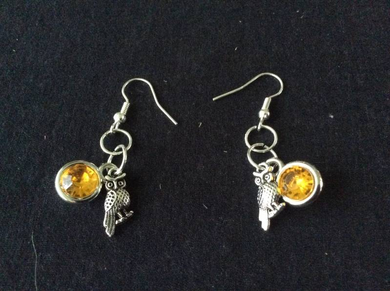 Harry Potter house Hufflepuff Owl earrings