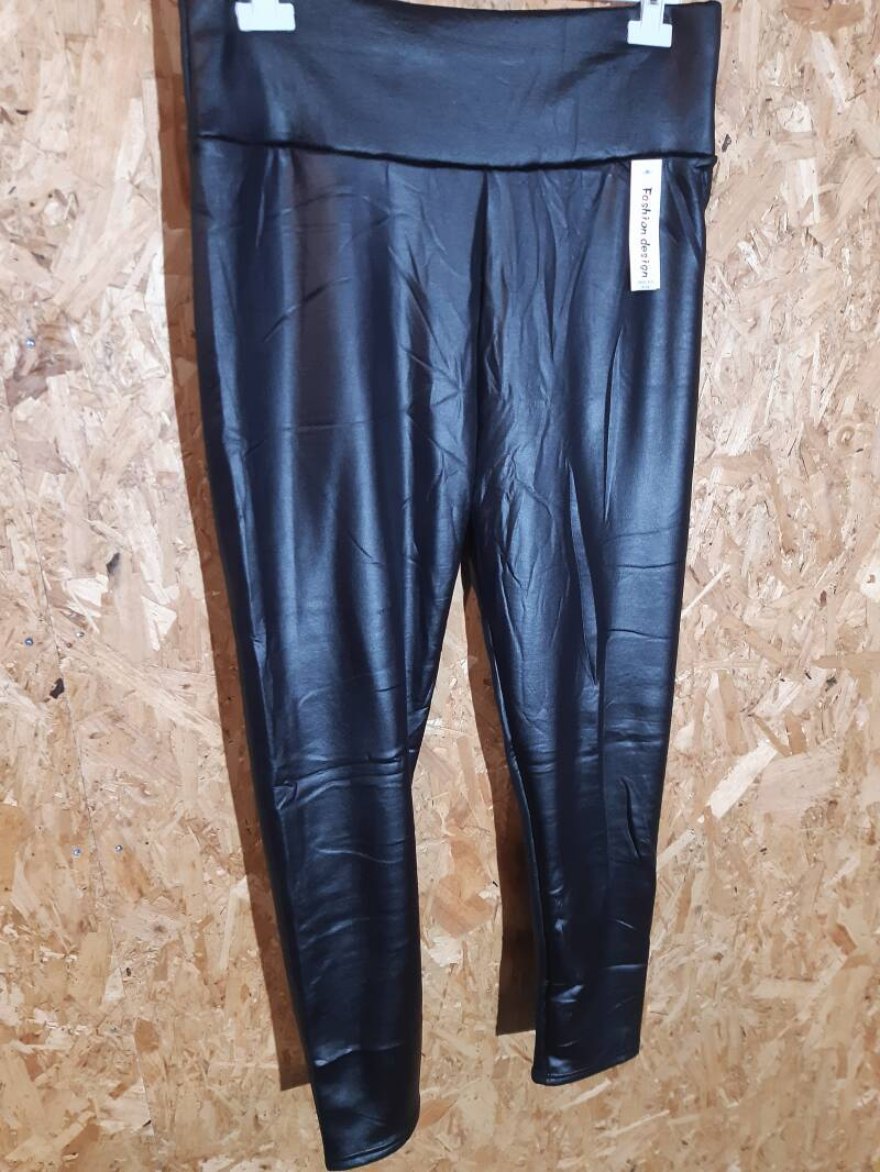 Leather look legging met voering