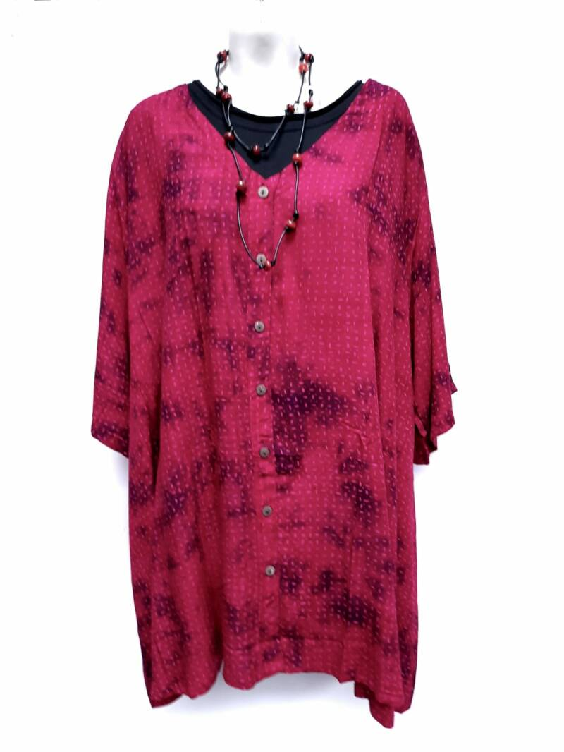Blouse rayon rood paars