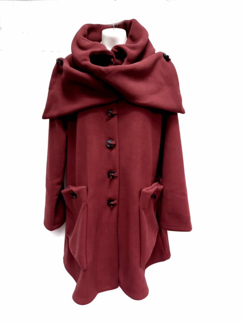 Boris fleece jas strik bordeaux