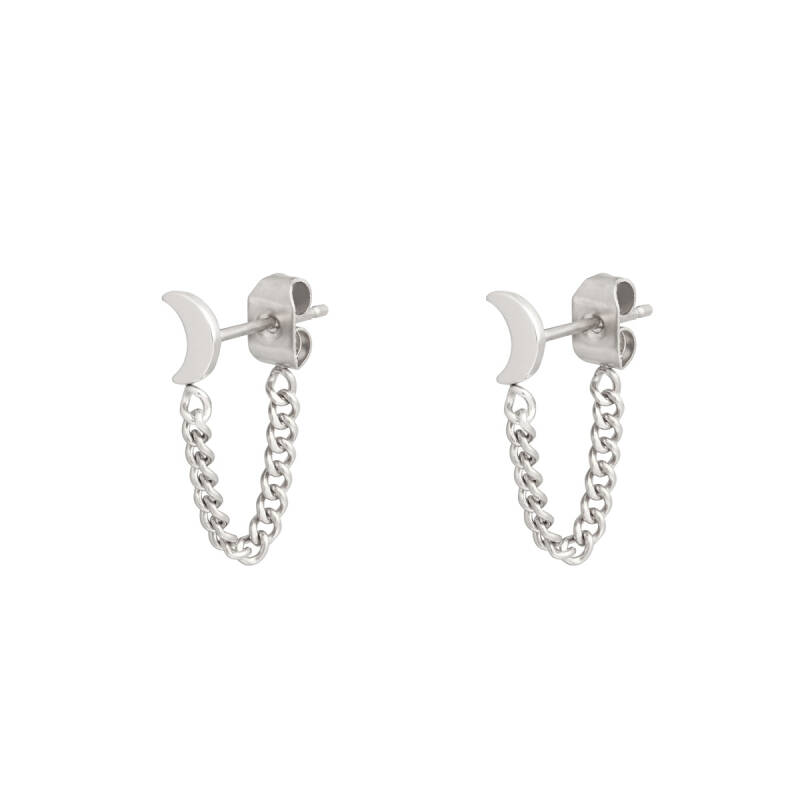 Earstuds moon and chain - zilver