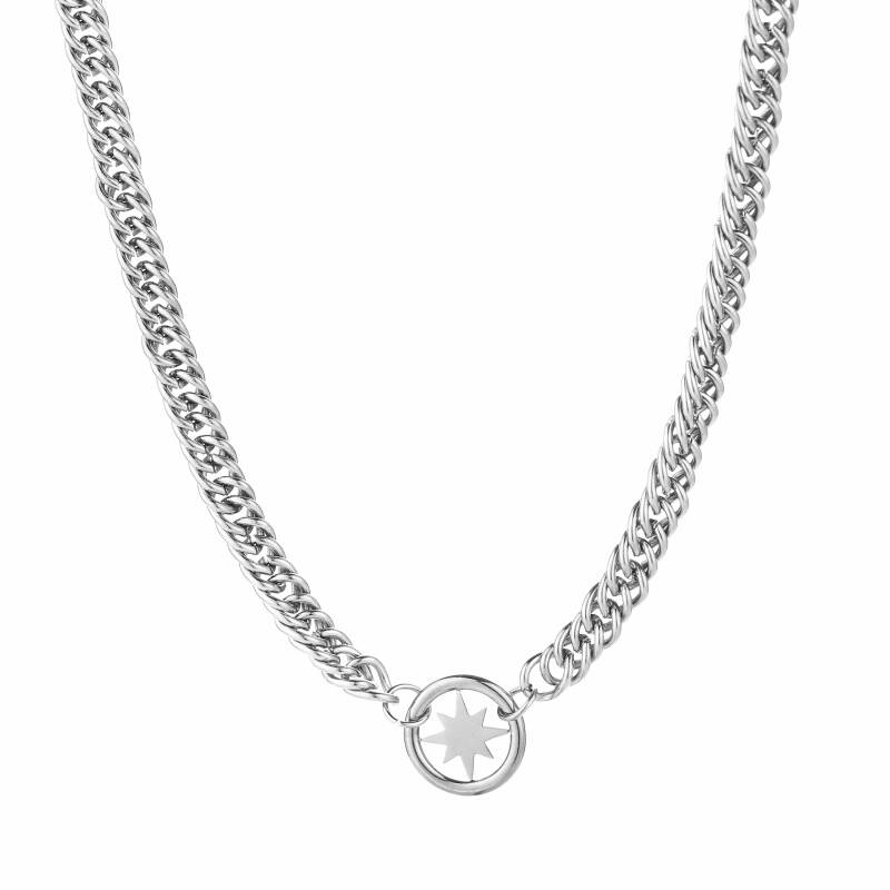 Chunky chain star ketting - zilver