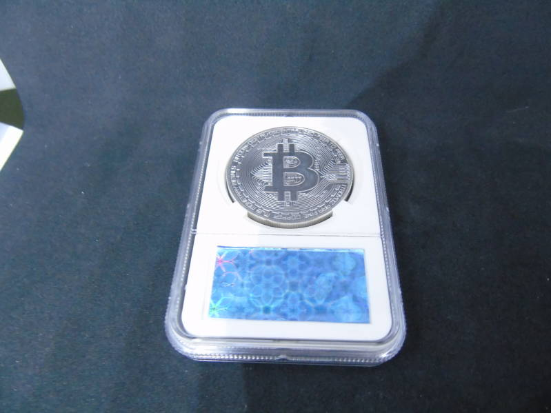 Bitcoin silver plated verzamelmunt