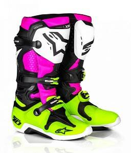 ALPINESTARS Boots TECH 10 BLACK / WHITE/ PINK / YELLOW FLUOR Radiant Limited Edition