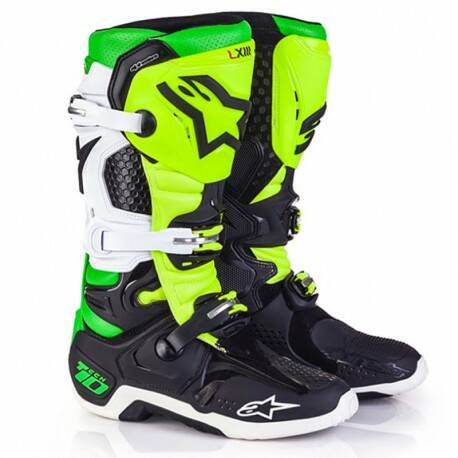 ALPINESTARS Boots TECH 10 BLACK / WHITE/ YELLOW / GREEN FLUOR Las Vegas Limited Edition