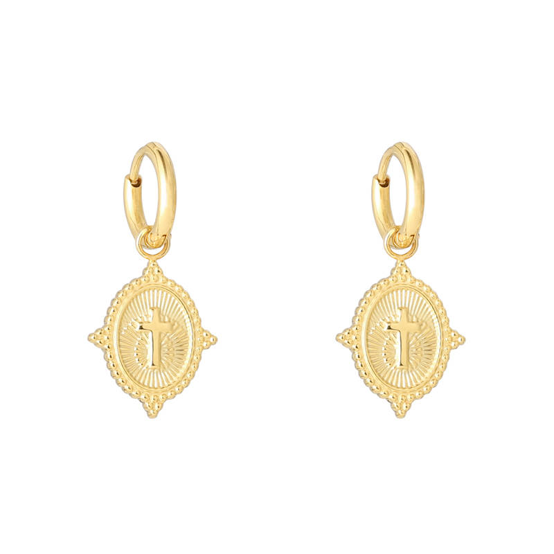 EARRINGS CROSS - GOLD