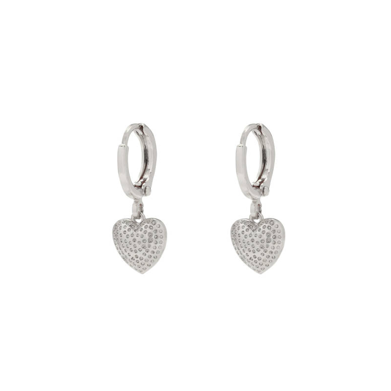 EARRINGS DOTTED HEART - SILVER