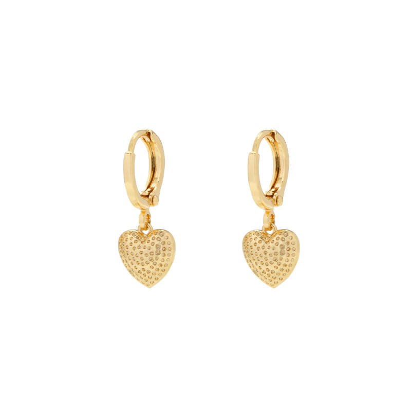 EARRINGS DOTTED HEART - GOLD