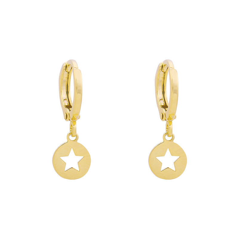EARRINGS ROUND STAR - GOLD