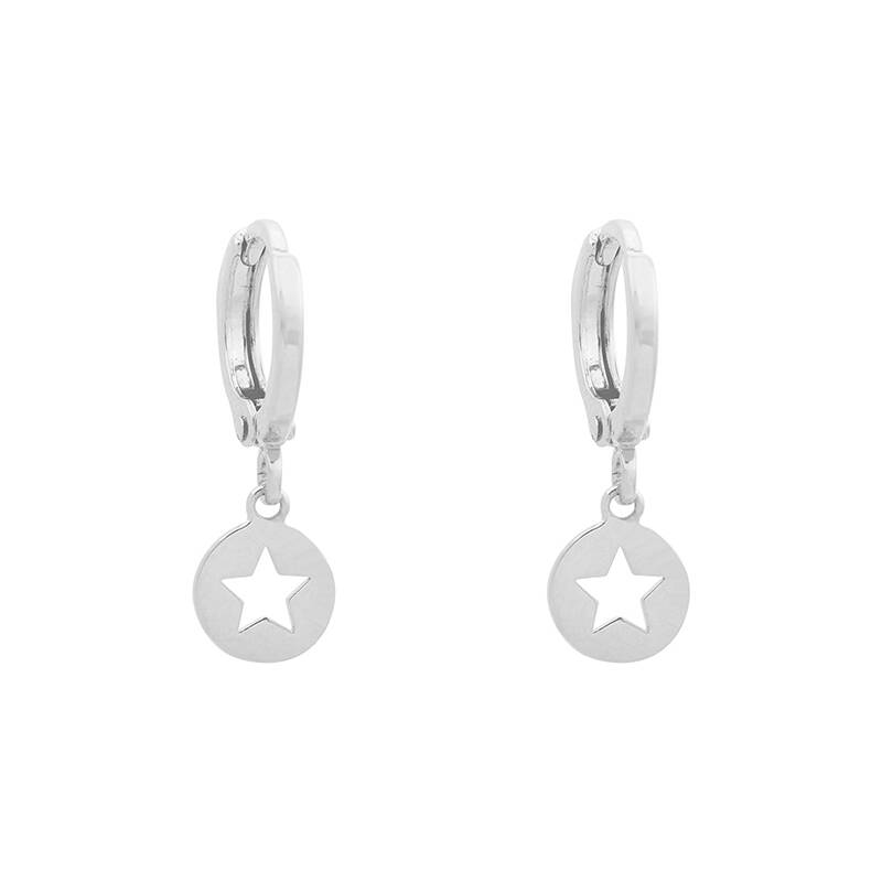 EARRINGS ROUND STAR - SILVER