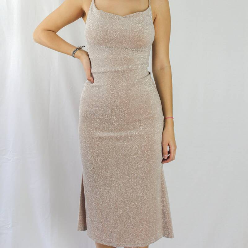 LOU GLITTER DRESS - BEIGE