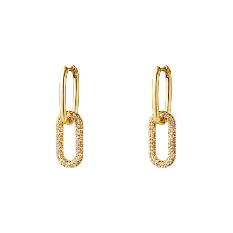 EARRINGS LINKED SPARKLE - GOLD