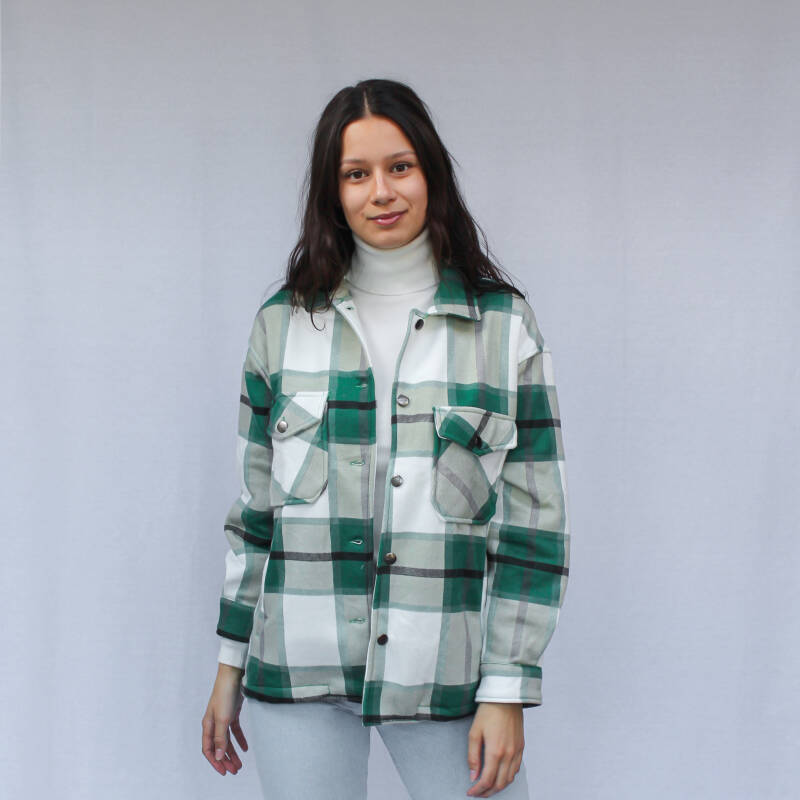 CHECKERED BLOUSE JACKET - GREEN