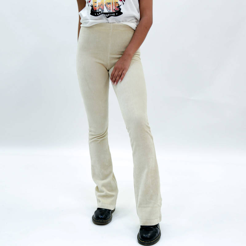 RIBBED FLARED TROUSERS - BEIGE