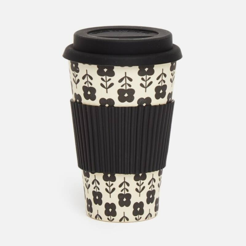 Travel mug | Black Flowers