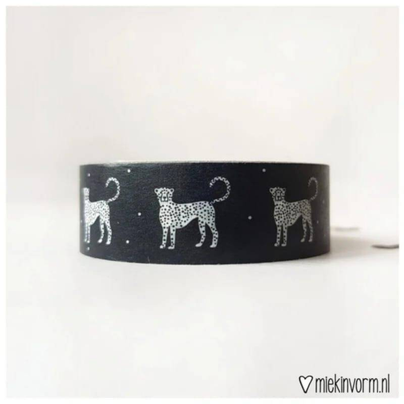 Washi tape | Zwart wit panter