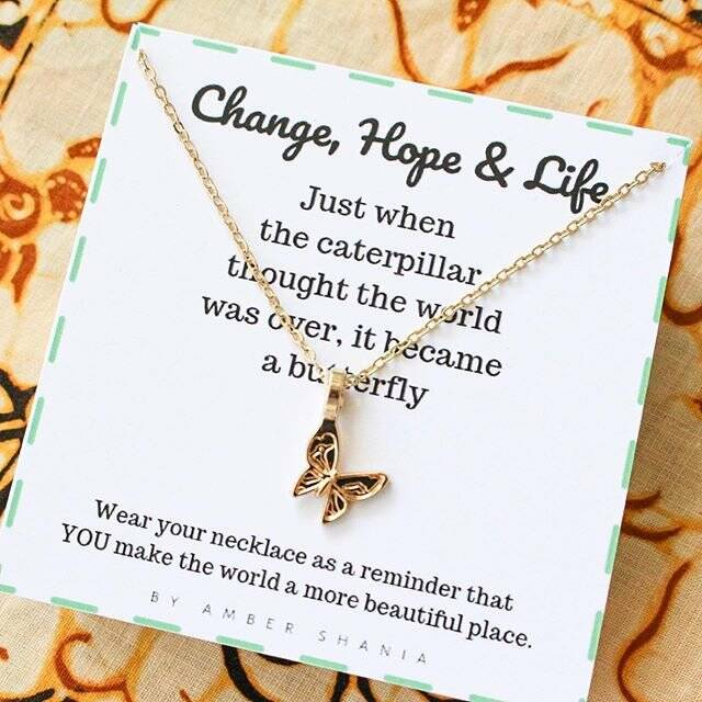Ketting Change, Hope, Life Butterfly - Goud