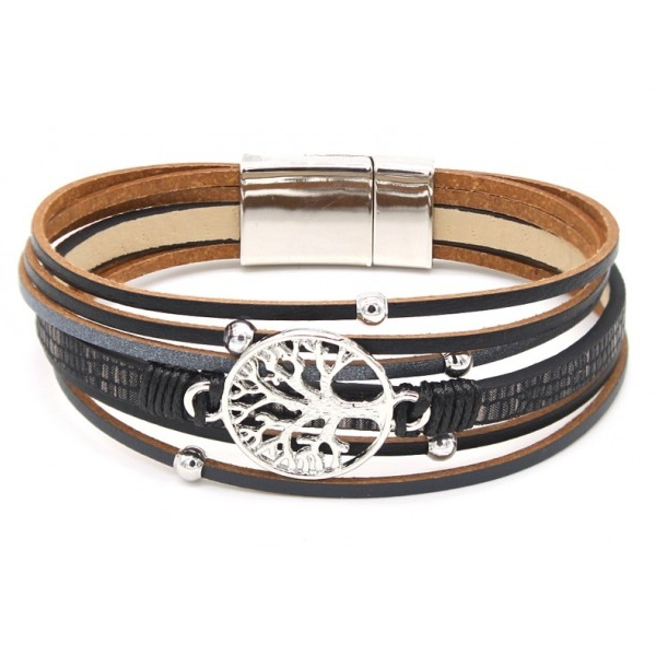 Armband Tree Of Life Leer - Zwart