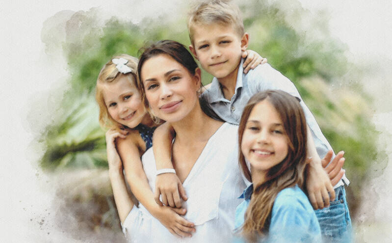 Family Portrait from your photo - watercolor style