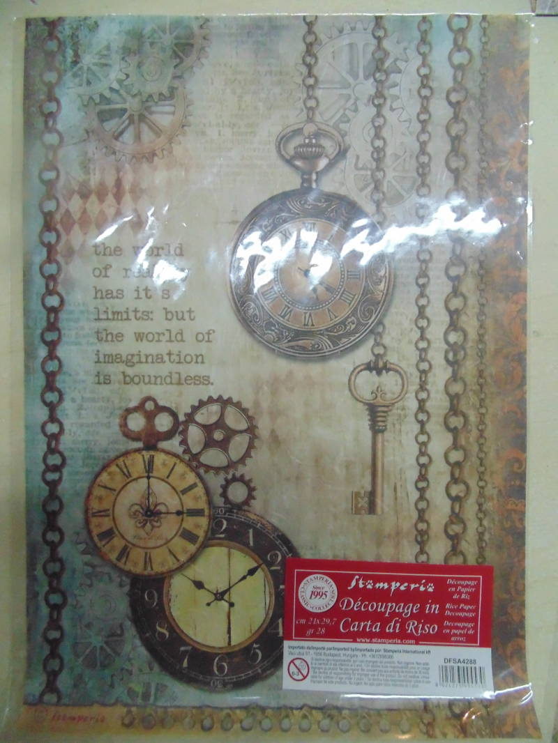 Stamperia Rice paper Clockwise Clock and Keys A4