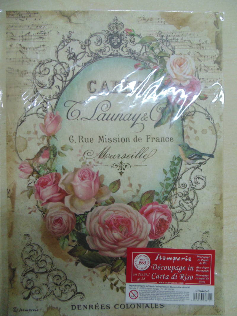 Stamperia Rice Paper Tag with Rose A4