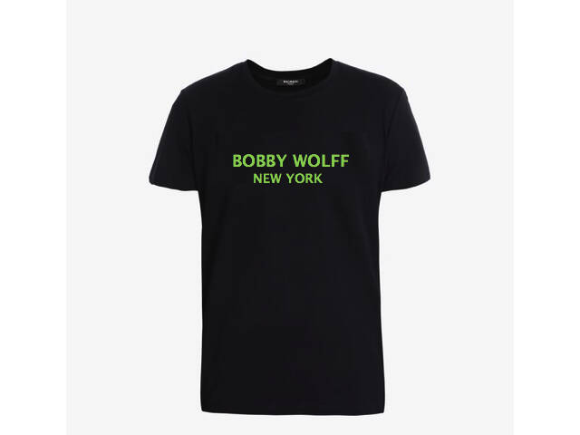 Black cotton T-shirt with white Bobby Wolff logo