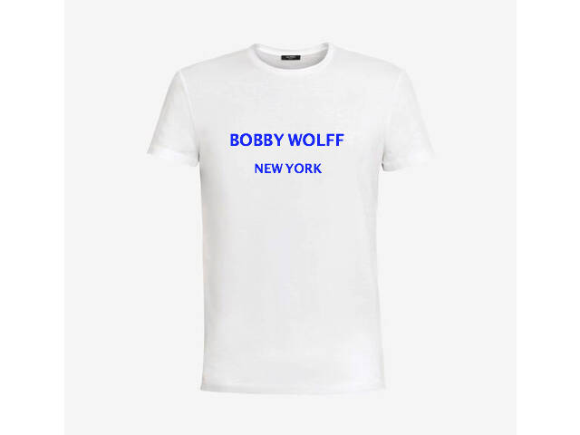 White cotton T-shirt with navy rubber Bobby Wolff logo