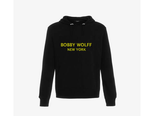 Black cotton hooded sweatshirt with Yellow Bobby Wolff logo