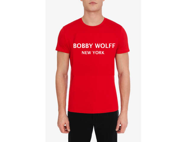 Red cotton T-shirt with Bobby Wolff Logo