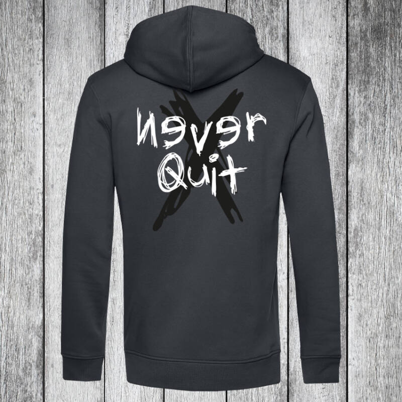 Never Quit Grunge Hoodie Charcoal