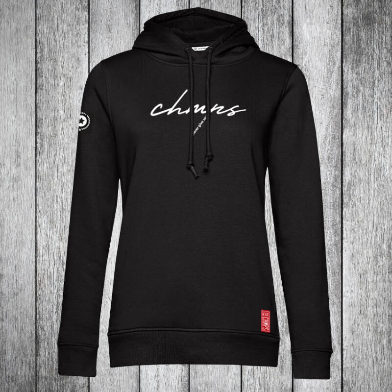 Never give up Dames Hoodie Black