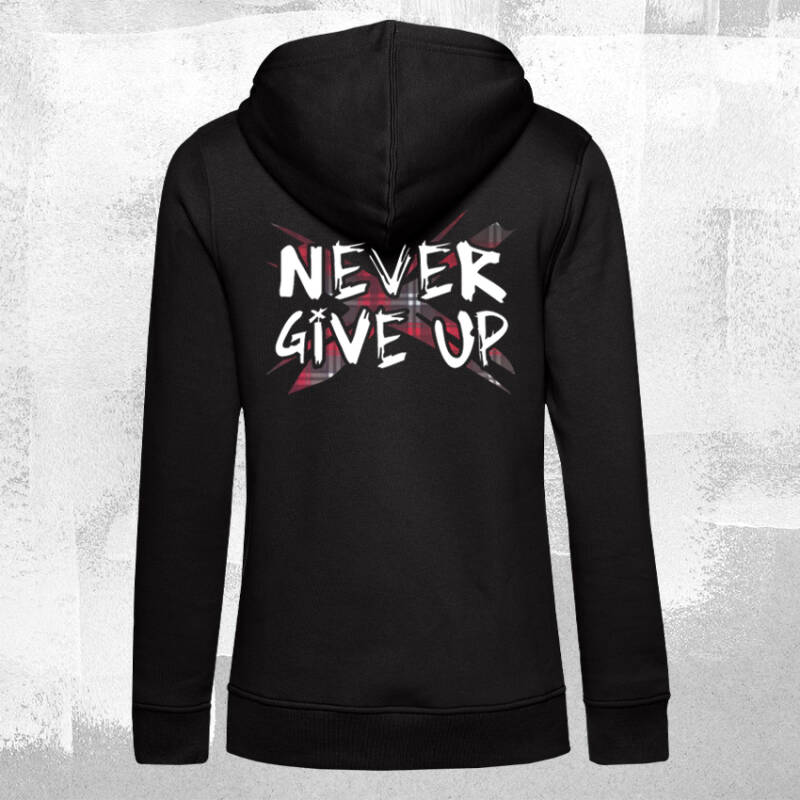 Never Give Up TartanX Dames Hoodie Black