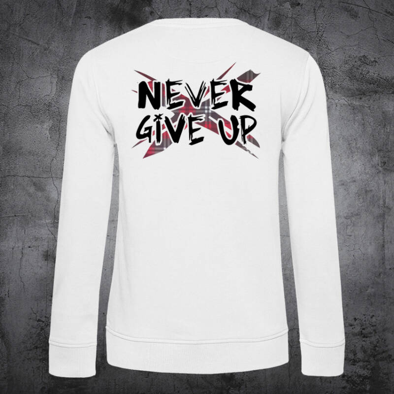 Never Give Up TartanX Dames Sweatshirt White