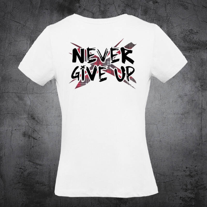 Never Give Up TartanX dames T-shirt White