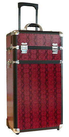 Beauty Case Trolley Large Red Snake