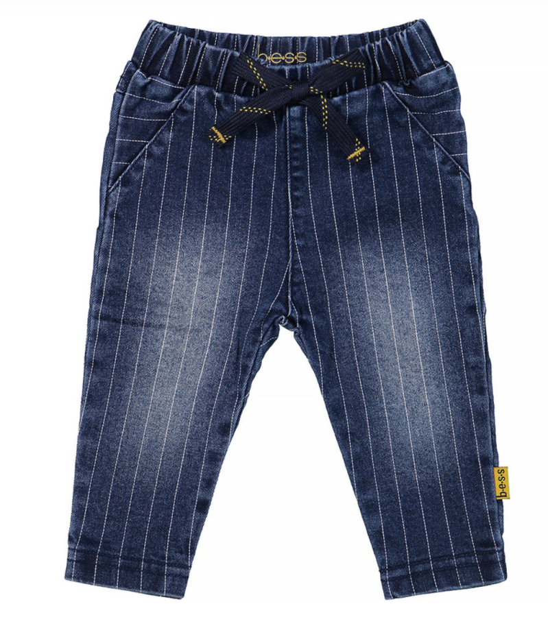 BESS Stone Wash Pants Denim Striped