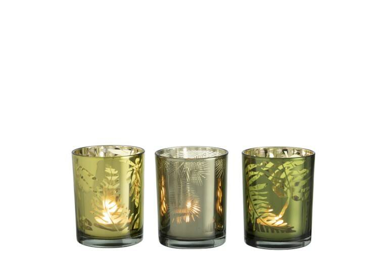 Windlicht Blad Glas Groen Mix Medium Assortiment Van 3