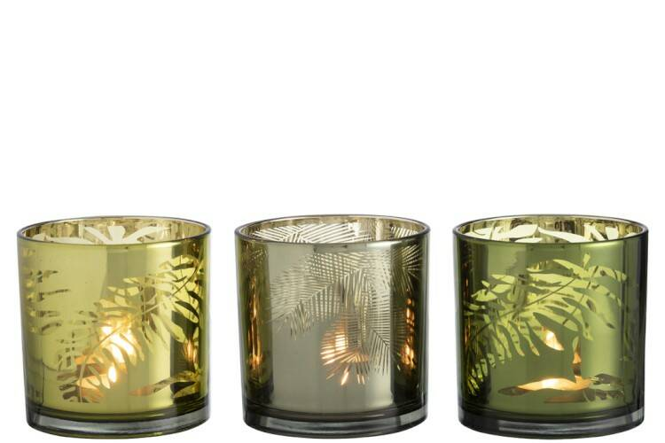 Windlicht Blad Glas Groen Mix Large Assortiment Van 3