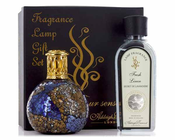 De Ashleigh & Burwood Masquerade Lamp Small + Fresh Linen 250ml Giftset