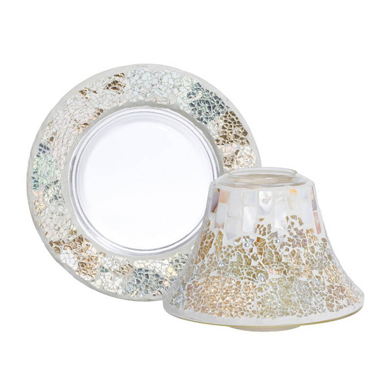 Yankee Candle Shade & Tray Large Gold & Pearl Crackle