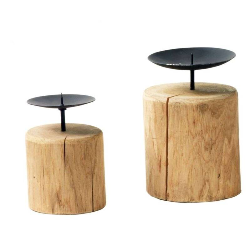 Candlestick on wood Hoogte 20 cm