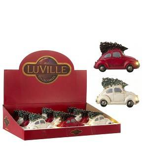 Luville VW kever rood of wit 12x5x6cm