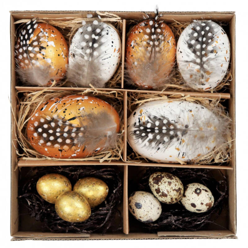 "PAASEI DECORATIE BOX ""NATURAL GOLD"" set: 12 (prijs per set)"