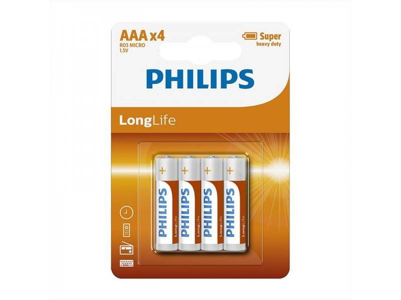 Philips Longlife batterijen AAA 4 stuks in blister