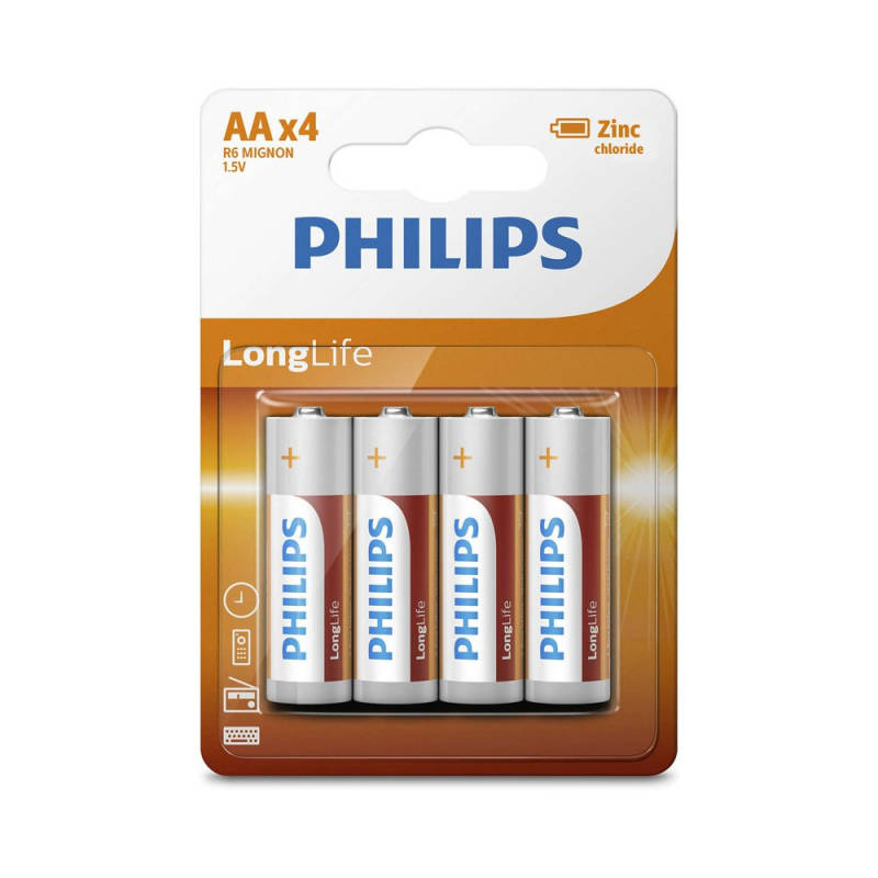 Philips Longlife Zinc AA/R6 blister 4